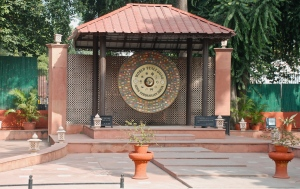 The World Peace Gong located near the entrance to the Gandhi Museum in New Delhi, India.